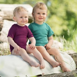 Baby-Body kurzarm mit Schulterdruckknöpfen, Wolle-Seide-Feinripp