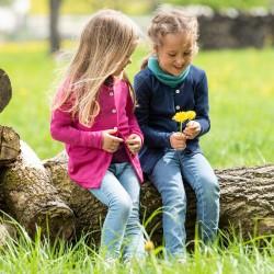 Kinder-Cardigan / leichtes Jäckchen aus Wolle-Seide-Feinripp
