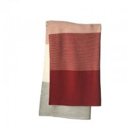 Woll-Babydecke mehrfarbig gestrickt aus Merino-Wolle k.b.T. 100 x80 cm