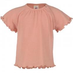 Baby-Kurzarm-Shirt gerüscht aus Wolle-Seide Feinripp