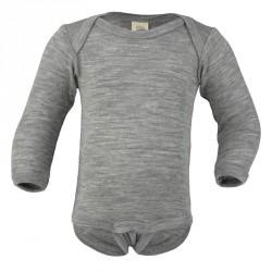 Baby-Body Wolle-Seide mit langem Arm uni oder geringelt