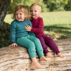 Baby-Shirt uni oder geringelt mit Perlmutterknöpfen, Wolle/Seide
